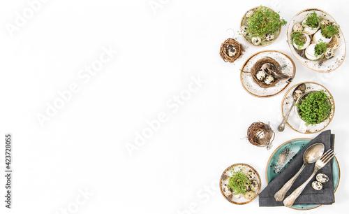 Fotografie, Obraz Easter greetings Festive decoration natural quail eggs
