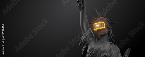 Fototapeta VR headset with neon light, future technology concept banner. 3d render of the statue of Liberty, usa, woman wearing virtual reality glasses on black background. VR games. Thanks for watching obraz