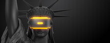 VR Headset With Neon Light, Future Technology Concept Banner. 3d Render Of The Statue Of Liberty, Usa, Woman Wearing Virtual Reality Glasses On Black Background. VR Games. Thanks For Watching