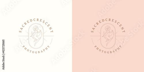 Billede på lærred Magic female on moon crescent logo emblem design template vector illustration in