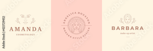 Photo Feminine logos emblems design templates set with beauty female portraits vector