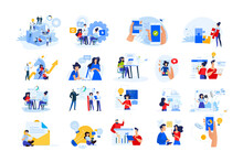 Set Of Modern Flat Design People Icons Of Start Up, Project Development, Business Strategy And Analytics, Social Media, Internet Marketing, E-banking, Programming, Cloud Data Storage.