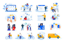 Set Of Modern Flat Design People Icons. Vector Illustration Concepts Of Delivery, Ebanking, Communication, Project Development, Business Management, Internet Marketing, Seo, Video Calling.