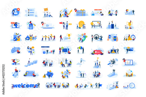 Obraz Set of modern flat design people icons. Vector illustration concepts of business, finance, marketing, technology, teamwork, management, e-commerce, web dewelopment and seo, business success and career - fototapety do salonu