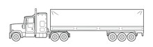 Heavy American Cargo Truck Illustration  - Simple Line Art Contour Of Vehicle.