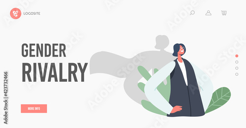 Obraz Gender Rivalry Landing Page Template. Successful Business Woman with Shadow in Super Hero Cloak Stand with Arms Akimbo - fototapety do salonu