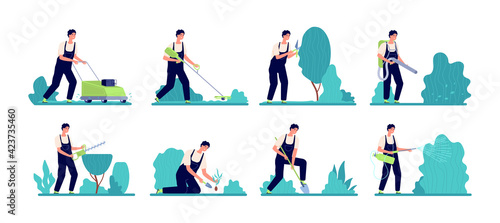 Fototapeta Gardener worker. Person work, rural organic farming or backyard garden services man. Professional farm care bush plants and tree vector set obraz