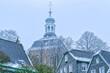 canvas print picture - Turm einer historischen Kirche in Solingen Gräfrath