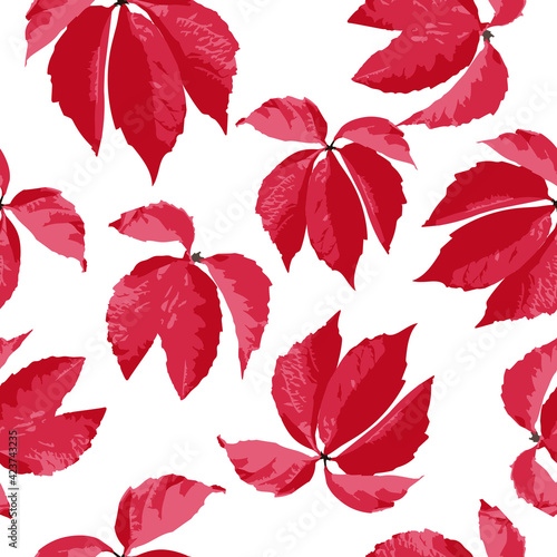 Fotografie, Obraz Red leaves on a white background, seamless pattern