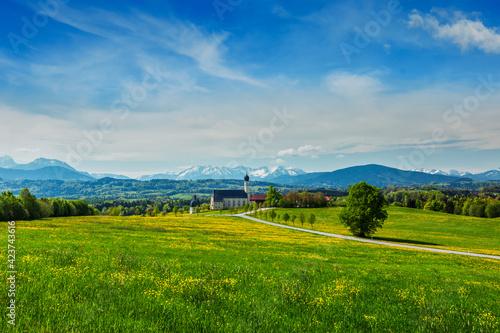 Fototapeta Church of Wilparting, Irschenberg, Upper Bavaria, Germany
