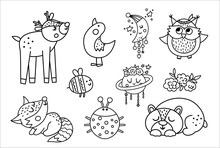 Vector Black And White Woodland Baby Animals, Insects And Birds Collection. Boho Line Forest Set. Bohemian Little Fox, Owl, Bear, Deer, Ladybug, Goose With Flowers, Planet, Half Moon. .