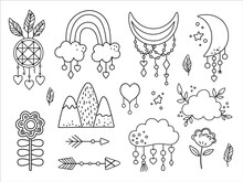 Vector Black And White Boho Elements Collection. Bohemian Half Moon, Dream Catcher, Flowers, Arrows, Cloud, Feathers Isolated On White Background. Celestial Line Icons Pack..