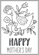 Vector Black And White Mothers Day Card With Cute Boho Birds. Pre-made Design Or Coloring Page With Woodland Baby Goseling And Mother. Bohemian Style Line Poster With Goose Family And Flowers .