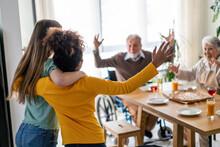 Grandparents Welcoming Multiethnic Grandchildren. Extended Multigenerational Family Together