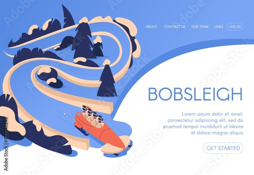 Fotografiet Bobsleigh landing page template concept drawn in blue color with snowy trees lan