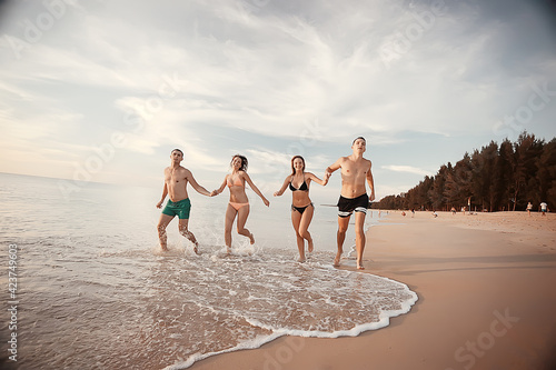 vacation, people run on the beach / summer vacation, vacation at sea, happy people rest