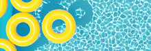 Top View Swimming Pool With Yellow Ring Floating. Summer Vacation Concept. 3d Rendering