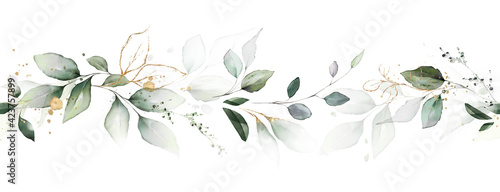Fototapeta watercolor botanic, Leaf and buds. Seamless herbal composition for wedding or greeting card. Spring Border with leaves eucalyptus obraz