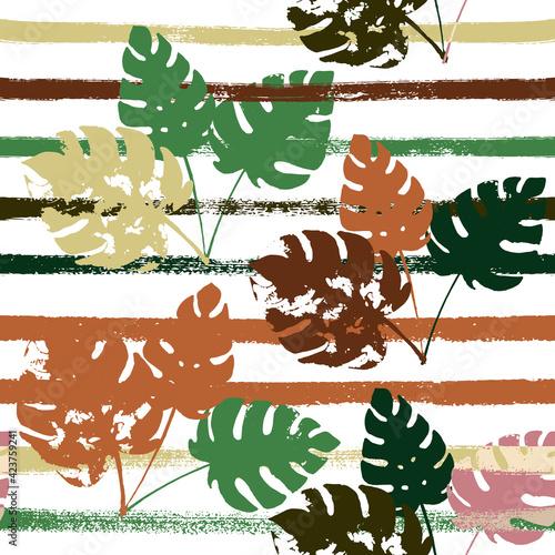 Tapety Eklektyczne  marynarz-paski-wektor-wzor-brazowy-zielony-khaki-egzotyczny-kwiatowy-nadruk-modne-boho