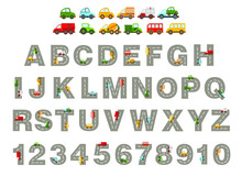 Track Road Alphabet, Numbers. Kids Learning Material. Alphabet And Numbers With Colored Cars
