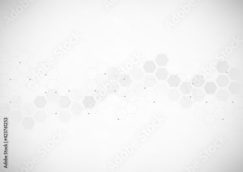 Fototapeta Abstract technology background with hexagons shape pattern. Concepts of healthcare technology, health, science and innovation medicine obraz