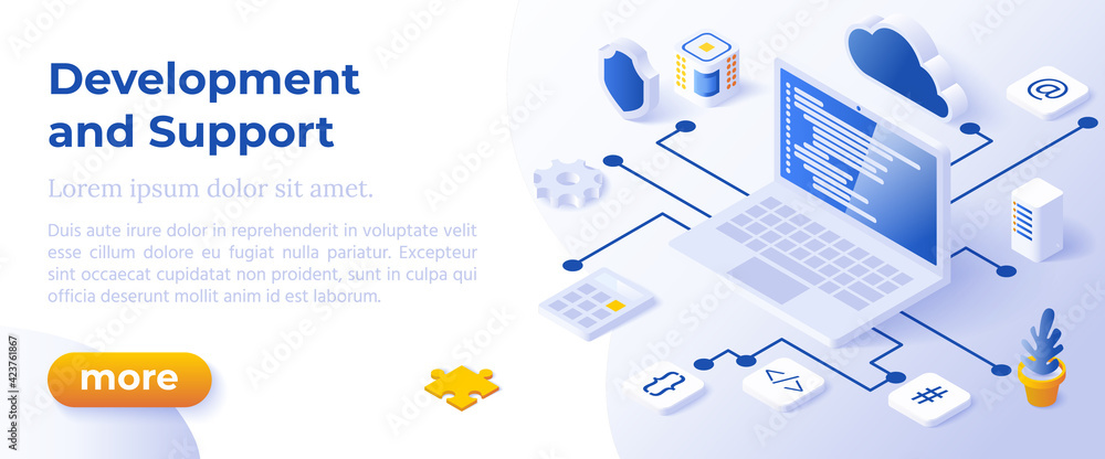 Fototapeta WEB DEVELOPMENT AND SUPPORT - Isometric Design in Trendy Colors Isometrical Icons on Blue Background. Banner Layout Template for Website Development