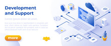 WEB DEVELOPMENT AND SUPPORT - Isometric Design In Trendy Colors Isometrical Icons On Blue Background. Banner Layout Template For Website Development