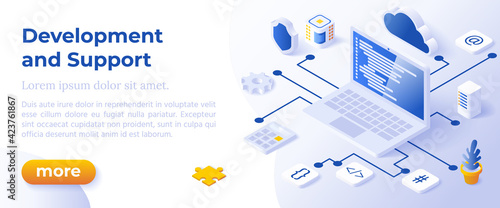Obraz WEB DEVELOPMENT AND SUPPORT - Isometric Design in Trendy Colors Isometrical Icons on Blue Background. Banner Layout Template for Website Development - fototapety do salonu