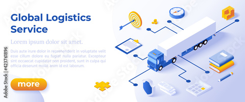 Obraz GLOBAL LOGISTICS CONCEPT - Isometric Design in Trendy Colors Isometrical Icons on Blue Background. Banner Layout Template for Website Development - fototapety do salonu