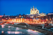Assumption Cathedral At Night And The Dnieper River In Smolensk