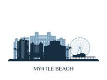 Myrtle Beach Skyline, Monochrome Silhouette. Vector Illustration.