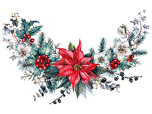 Watercolor Christmas Floral Decoration Isolated On White.