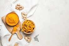 Composition With Turmeric Powder On Grunge Background