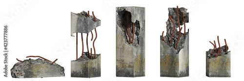 Fototapeta set of damaged concrete pillars isolated on white background