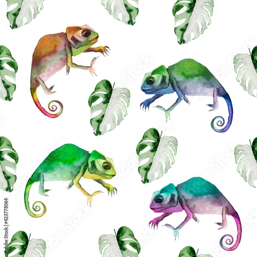 Fototapeta premium Chameleons among tropical monstera leaves watercolor seamless pattern. Template for decorating designs and illustrations.