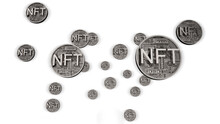 NFT Non Fungible Tokens, Crypto Art On Colorful Abstract Background. Trade For Unique Collectibles In Games Or Art. 3d Render Of NFT Crypto Art Collectibles Concept Illustration. Bubble Or Rally.