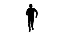 Silhouette Man In Casual Speeding Up And Starts Running Fast.