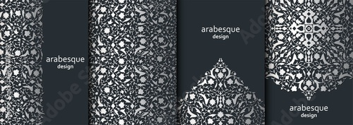Obraz Set of vertical arabesque floral banners. Branches with flowers, leaves and petals - fototapety do salonu