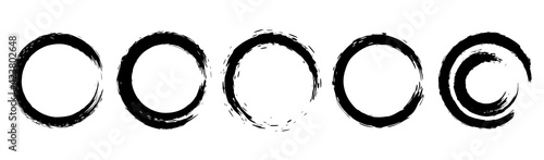 Fototapeta Set of grunge circles from brush strokes. Design element for poster, emblem, sign, logo. Vector illustration obraz