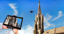 Drone In The Air Inspecting Church Tower And Ornaments. Close-up Of Display With Defective Embellishments