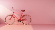 Red Bike On Pink Wall Side View