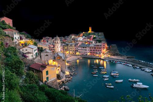 Fotografie, Obraz Port de Vernazza de nuit, vue depuis le sentier de randonnée, village des Cinque terre inscrit au patrimoine mondial de l'Unesco
