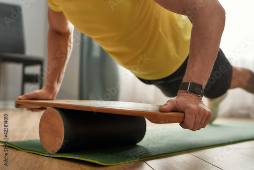 Leinwand Poster Selective focus on balance board used by athlete