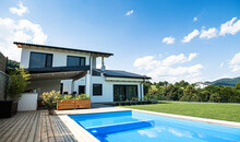 House With Swimming Pool Outdoors In Backyard Garden.