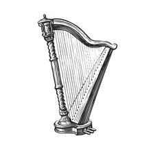 Musical Harp Hand Drawn Sketch. Music Concept Vector Illustration