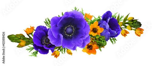 Foto Blue anemones and orange ornithogalum flowers in a wavy floral arrangement