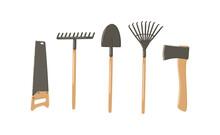 Gardening Tools Hand Drawn Vector Illustration Set. Garden Equipment - Shovel, Rake, Hand Saw, Hatchet