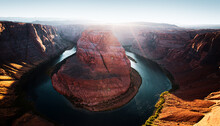 Arizona Horseshoe Bend In Grand Canyon. Beautiful View Of Horseshoe Bend, Arizona, Under Warm Sunset Light, In Autumn Color.