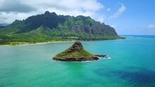 Aerial View Of Chinaman's Hat Island Kualoa Park Oahu Hawaii