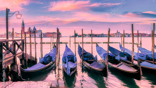 Gondolas moored by Saint Mark square in Venice, Italy Fototapet